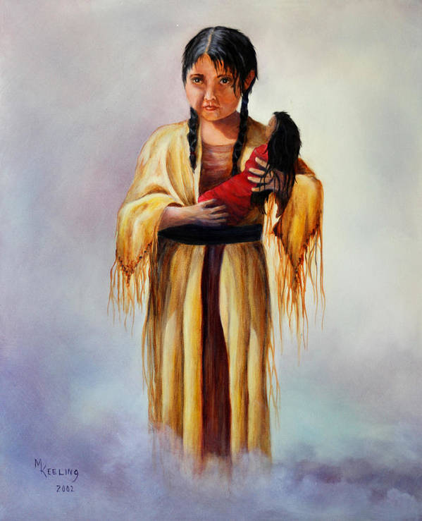 Oil Art Print featuring the painting Indian Doll by Meg Keeling