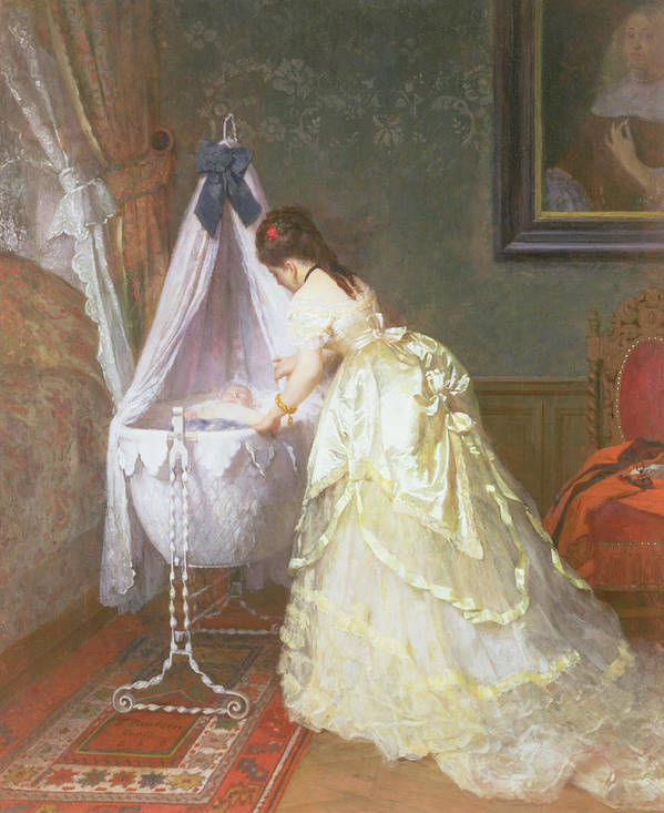 Female; Cot; Cradle; Nursery; 19th Century Costume; Dress; Sleeping; Domestic Interior; Bedroom; Bracelet; Earrings; Jewellery; Jewelry; Wealth; Wealthy Art Print featuring the painting Mother And Baby by Fritz Paulsen