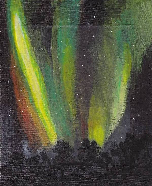 Northern Lights Art Print featuring the painting Northern Lights 3 by Audrey Pollitt