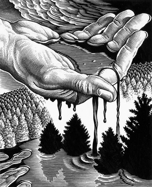 Hand Art Print featuring the photograph Oil Pollution by Bill Sanderson
