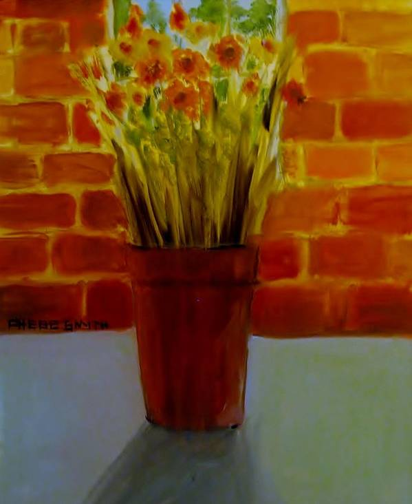 Flowers Art Print featuring the painting Potted Flowers by Phebe Smith