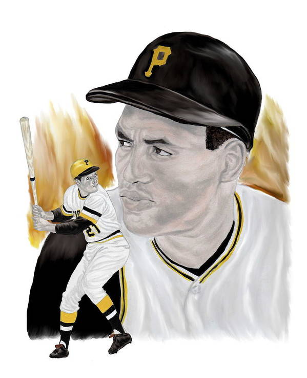Roberto Clemente Print featuring the painting Roberto Clemente by Steve Ramer