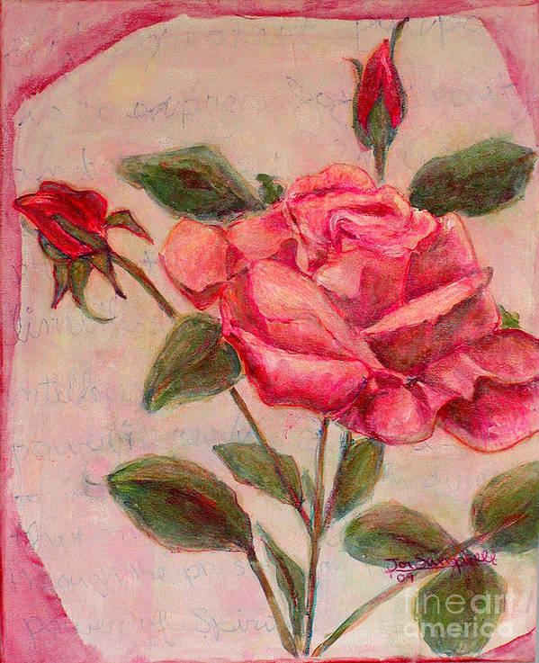 Red Rose Art Print featuring the painting Rose Of Love And Romance by Joi Sampsell