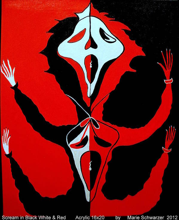 Party Art Print featuring the painting Scream In Black White And Red by Marie Schwarzer