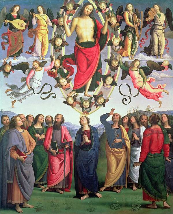 Renaissance; Musician; Angel; Mandorla; Disciple; Angels; Musicians Art Print featuring the painting The Ascension Of Christ by Pietro Perugino