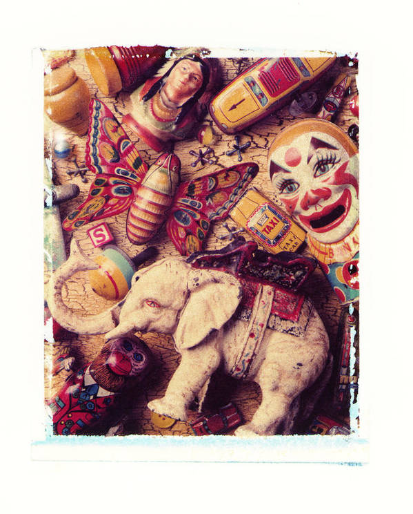 White Elephant Old Toys Antiques Clown Butterfly Top Monkey Indian Art Print featuring the photograph White Elephant by Garry Gay