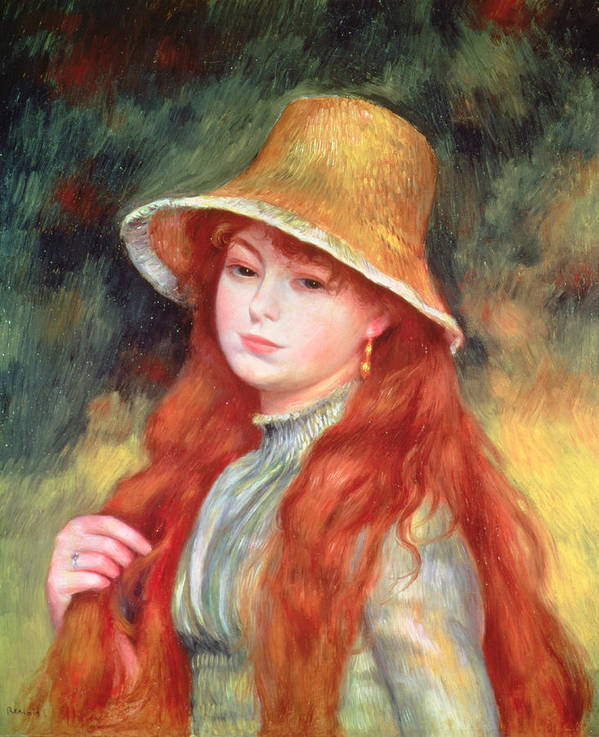 Impressionist; Portrait; Female; Red Head Art Print featuring the painting Young Girl With Long Hair by Pierre Auguste Renoir