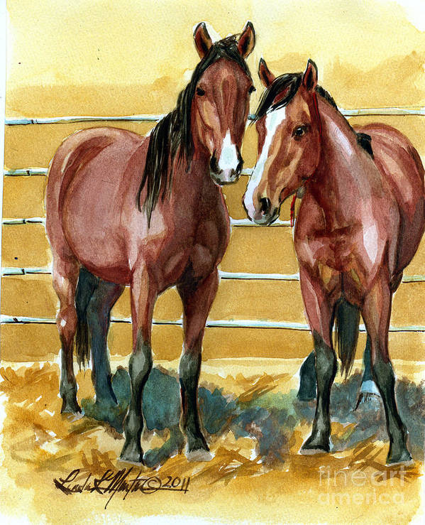 Mustang Print featuring the painting Pick Up Day by Linda L Martin