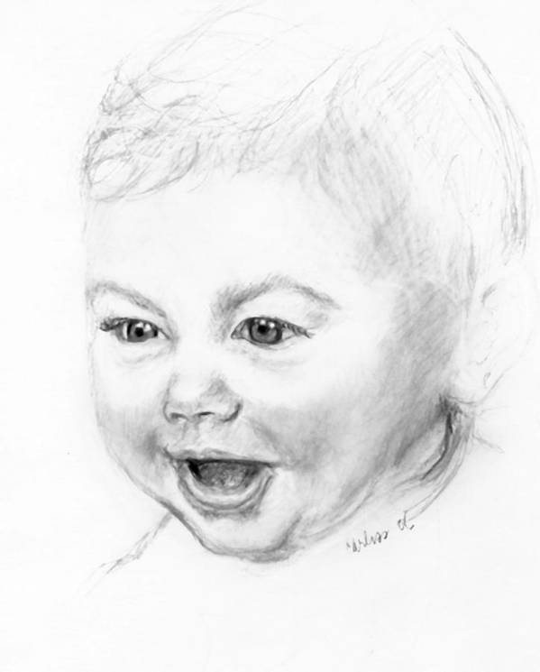 Baby Little Girl Baby Face Art Print featuring the print So Excited by Carliss Mora