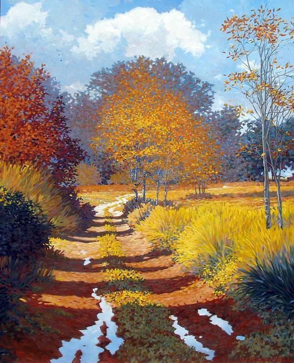 Landscape Art Print featuring the painting Autumn by Kevin Lawrence Leveque
