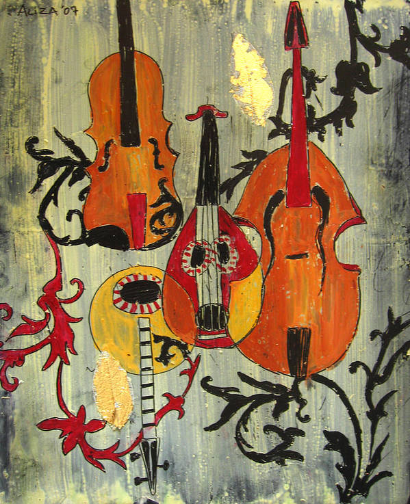 Music Art Print featuring the painting Baroque 1 by Aliza Souleyeva-Alexander