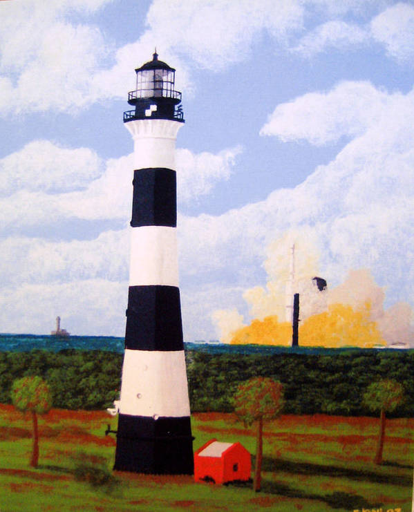 Lighthouse Paintings Art Print featuring the painting Cape Canaveral Lighthouse by Frederic Kohli