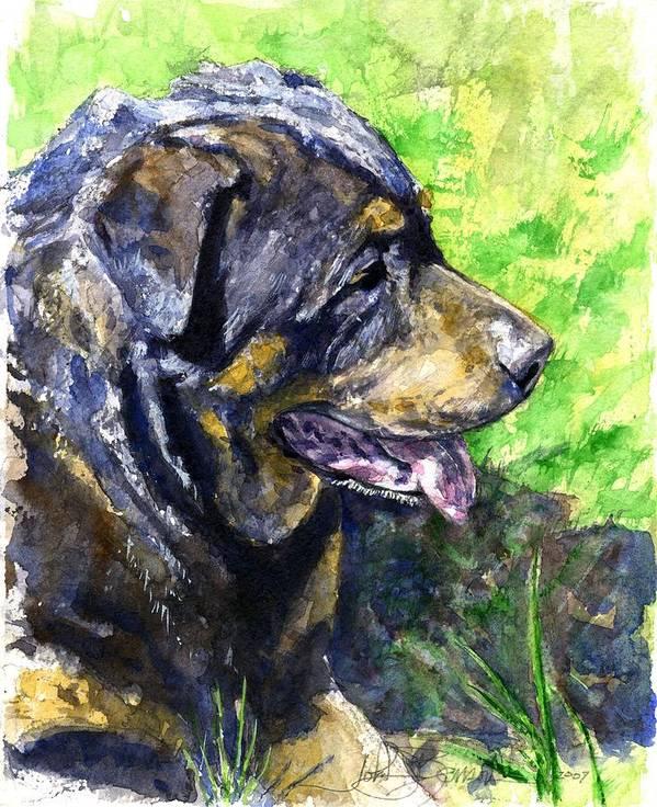 Rottweiler Art Print featuring the painting Chaos by John D Benson