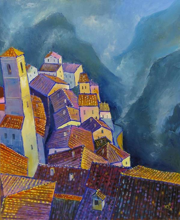 Motif Art Print featuring the painting Hilltop Village by Mikhail Zarovny