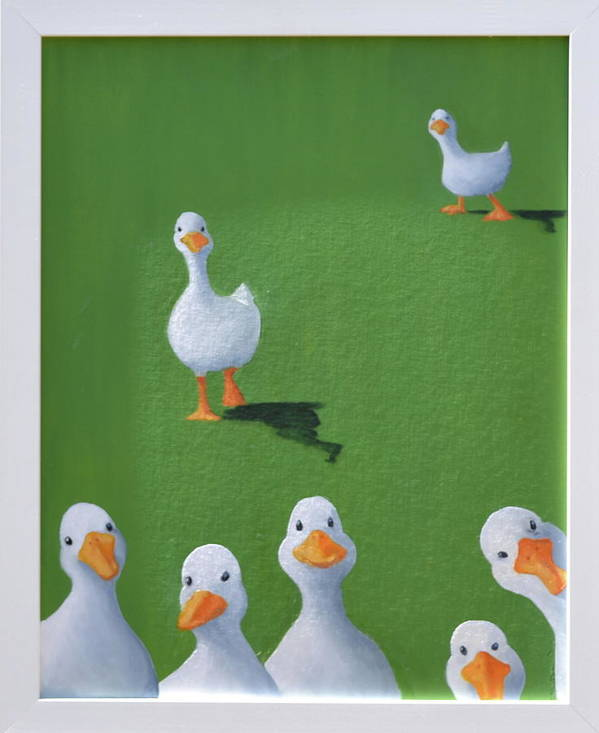 Ducks Art Print featuring the painting Quackers by Sheryl Sutherland