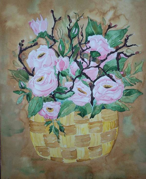 Roses Flowers Art Print featuring the painting Roses by Irenemaria Amoroso