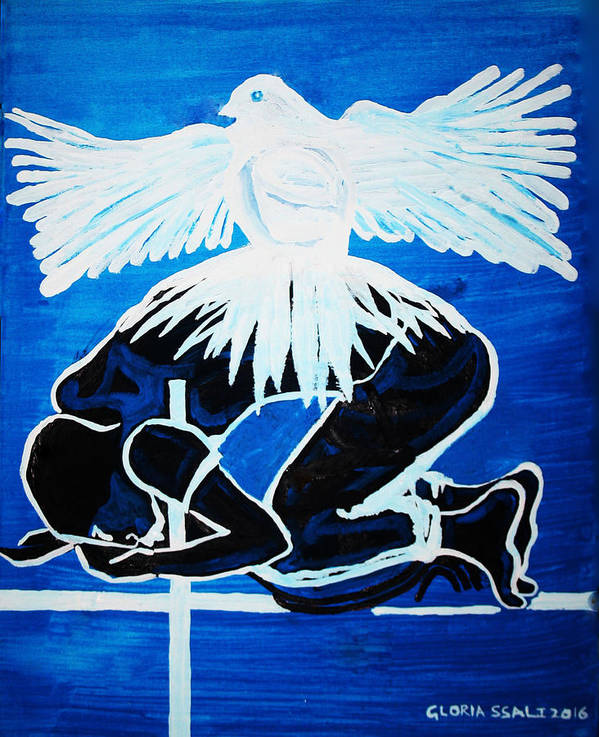Jesus Art Print featuring the painting Slain In The Holy Spirit by Gloria Ssali
