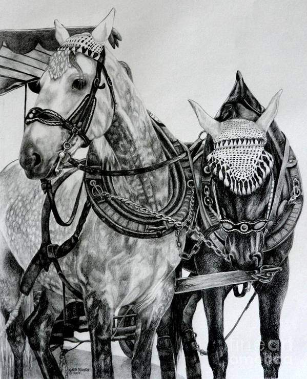 Horse Pencil Black White Germany Rothenburg Art Print featuring the drawing 2 Horses Of Rothenburg 2000usd by Karen Bowden