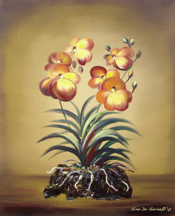 Orange Art Print featuring the painting Orange Orchid Flowers by Gina De Gorna