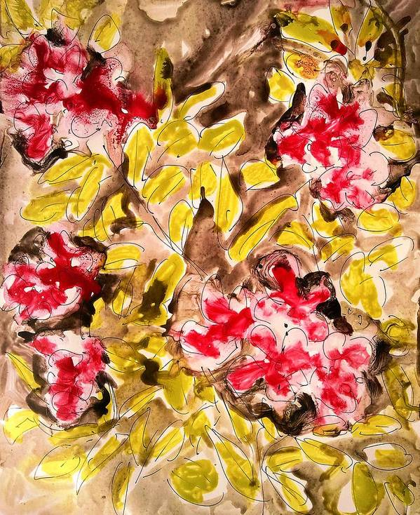 Abstract Art Print featuring the painting Divine Flower by Baljit Chadha