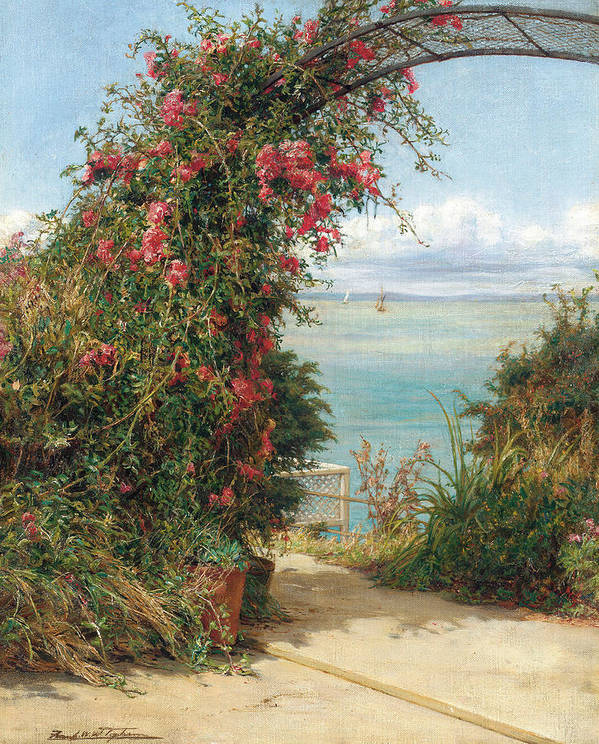 A Garden By The Sea (oil On Canvas) Landscape; Arch; Bower; Arch; Roses; Climbing; Pink; View; Seascape; Sea Art Print featuring the painting A Garden By The Sea by Frank Topham