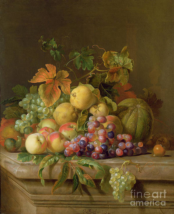 Still Art Print featuring the painting A Still Life Of Melons Grapes And Peaches On A Ledge by Jakob Bogdani