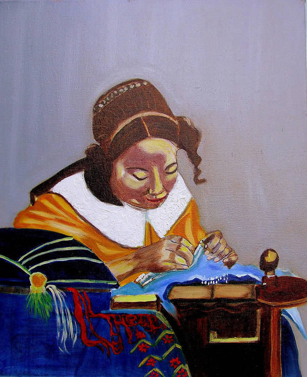 Pastiche Art Print featuring the painting A Tribute To Vermeer The Lacemaker by Rusty Gladdish
