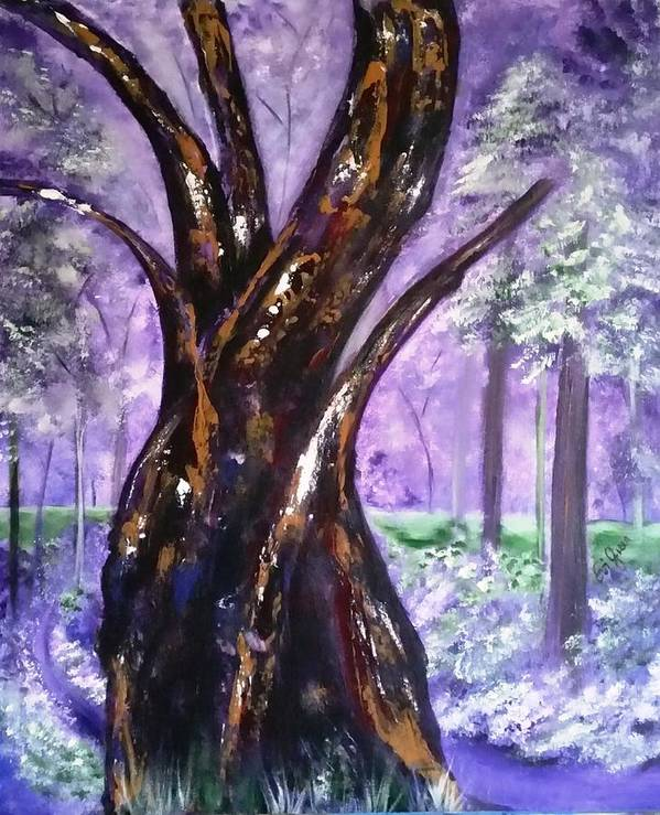Forest Art Print featuring the painting A Walk In The Forest by Evi Green