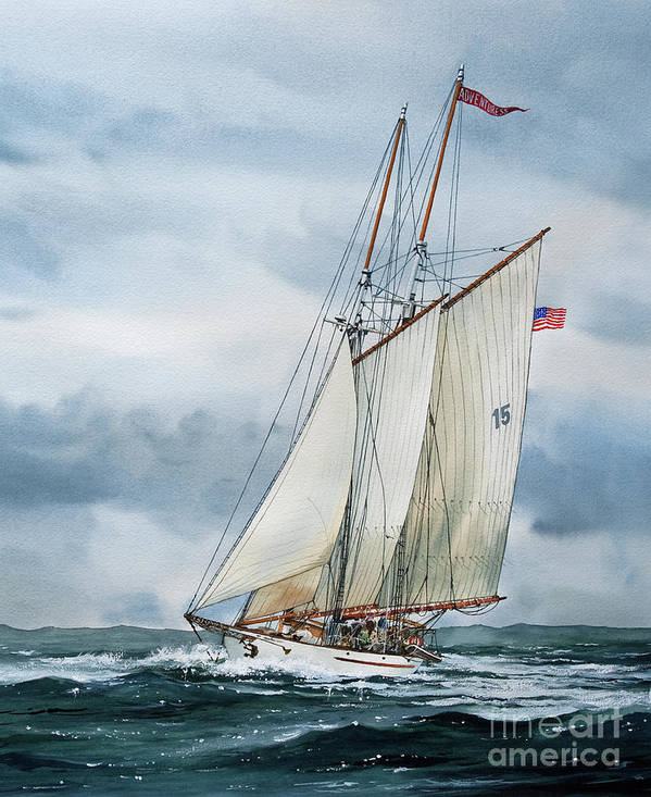 Sailing Vessel Adventuress Art Print featuring the painting Adventuress by James Williamson