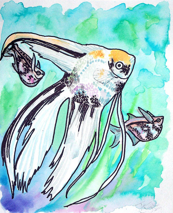 Fish Art Print featuring the painting Angel Fish And Hatchet Tetras by Jenn Cunningham