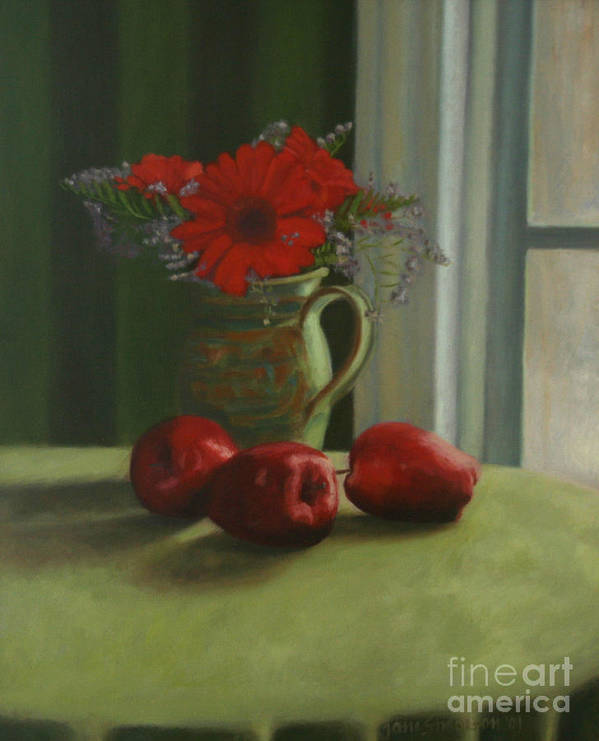 Apples Art Print featuring the painting Apples And Gerbers by Jane Simonson