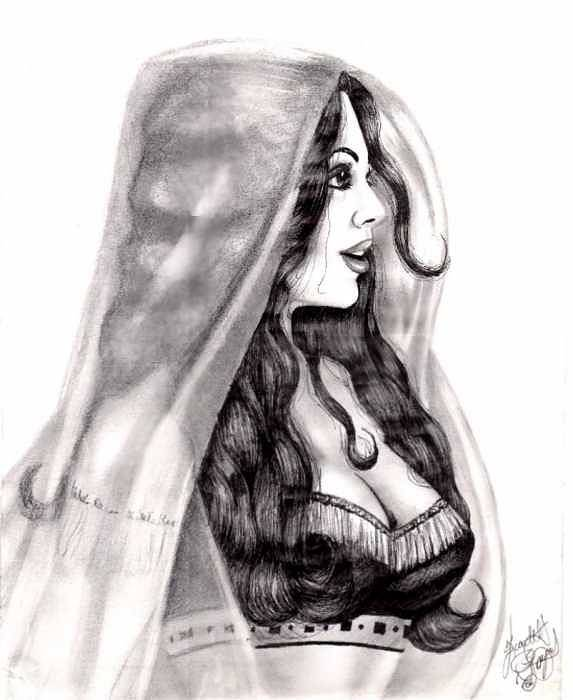 Figure Art Print featuring the drawing Arabian Beauty by Scarlett Royal