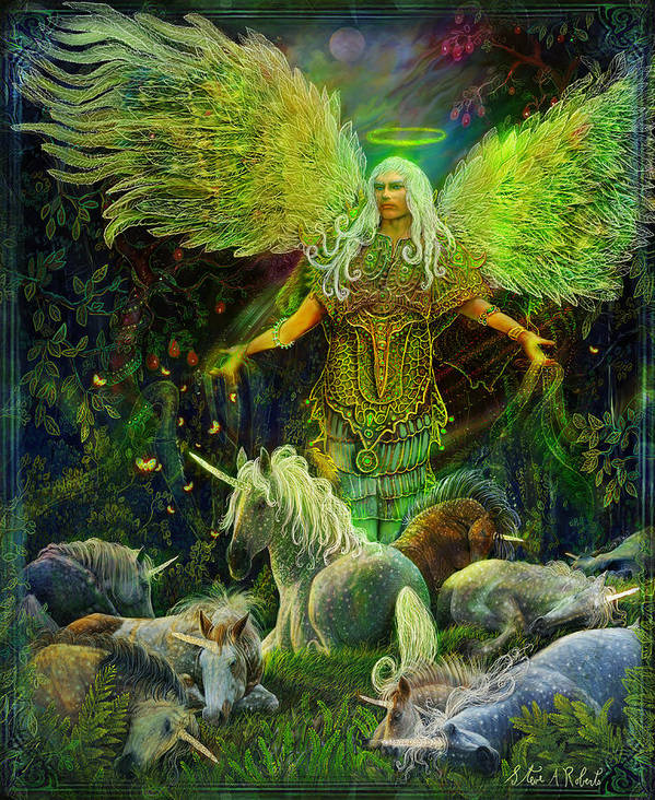 Angel Art Print featuring the painting Archangel Raphael Protector Of Unicorns by Steve Roberts