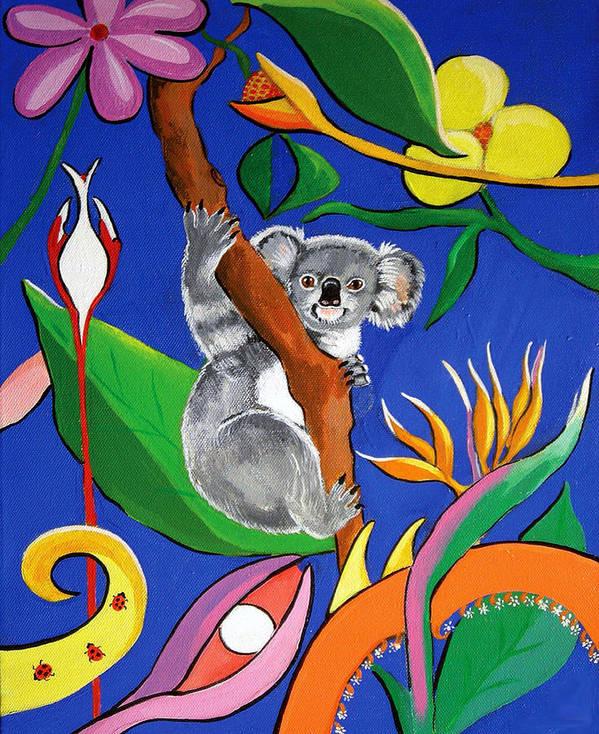Australian Art Print featuring the painting Australian Koala by Gloria Dietz-Kiebron