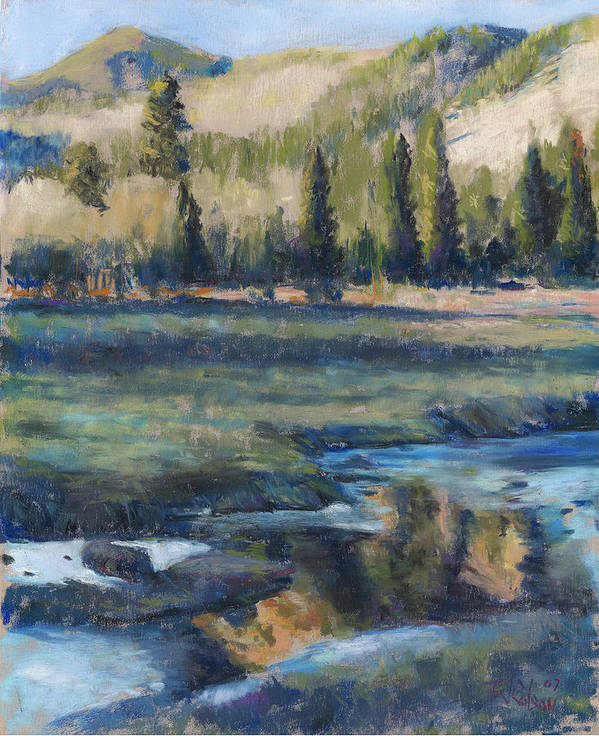Partly Frozen River In The Rockies Art Print featuring the painting Autumn Reflections by Billie Colson