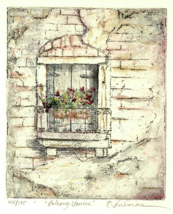 Venice Art Print featuring the painting Balcony Venice by Richard Bulman
