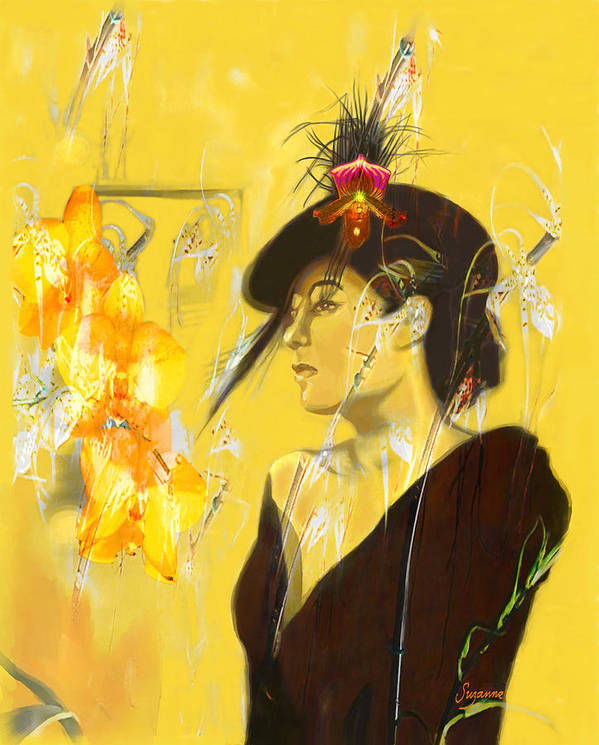 Digital Painting Art Print featuring the digital art Billie Holiday by Suzanne Cerny