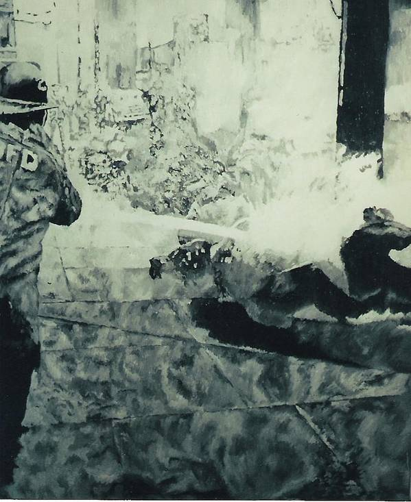 Civil Rights Movement Art Print featuring the painting Birmingham Fire Department Sprays Protestor With High Pressure Water Hoses 1963 by Lauren Luna