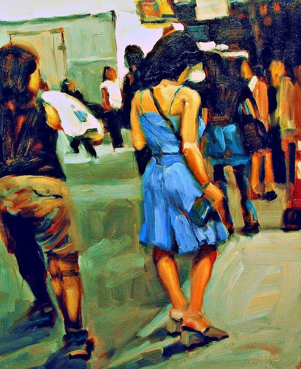 Landscape Art Print featuring the painting Blue Dress by Brian Simons