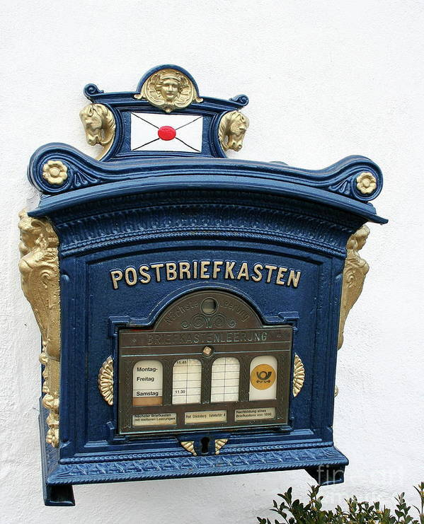 Blue Mailbox Art Print featuring the photograph Blue Mailbox by Christiane Schulze Art And Photography