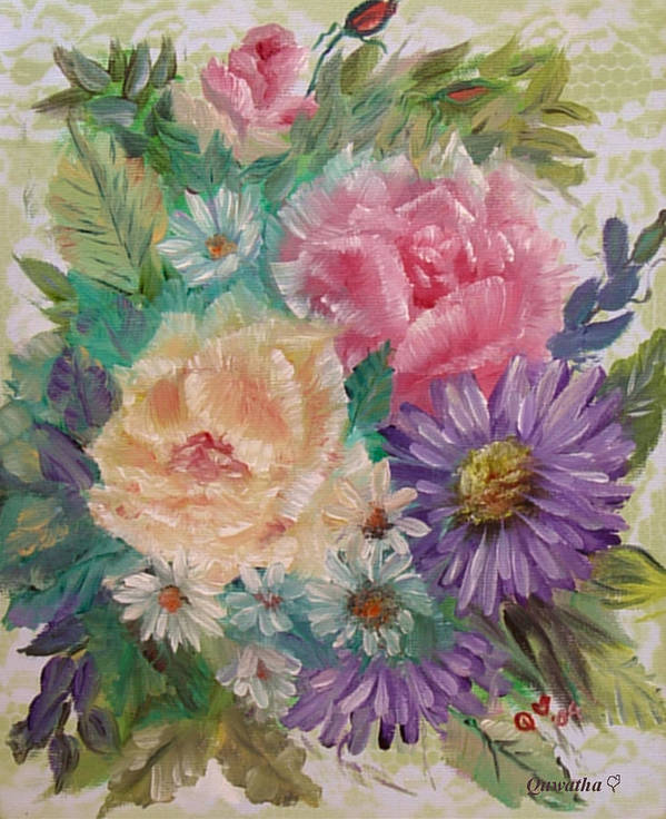 Rose Art Print featuring the painting Bouquet 2 by Quwatha Valentine