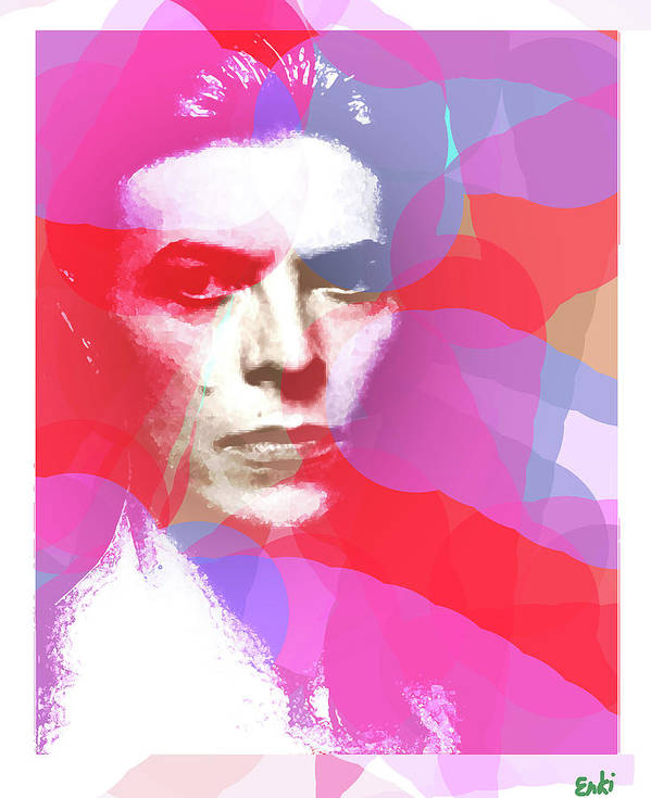 Bowie Art Print featuring the mixed media Bowie 70s Chic by Enki Art