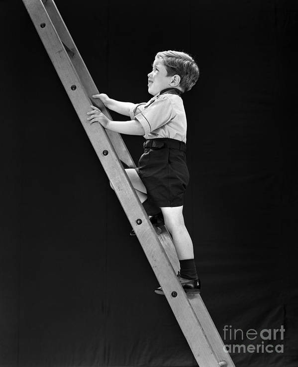 1930s Art Print featuring the photograph Boy Climbing Tall Ladder, C.1930s by H. Armstrong Roberts/ClassicStock