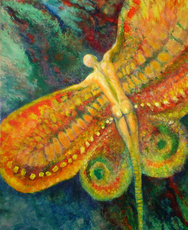 Butterfly Art Print featuring the painting Butterfly Man by Michael Durst