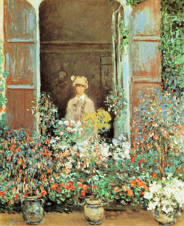 Claude Monet Art Print featuring the painting Camille At The Window by Claude Monet