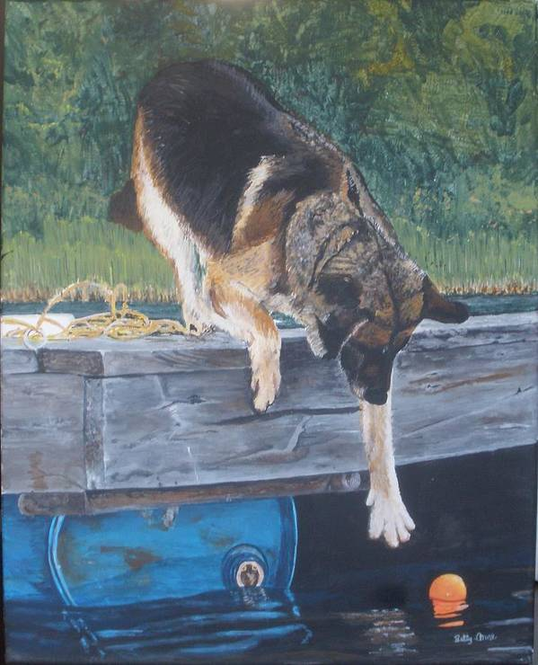 Dog Art Print featuring the painting Can She... by Betty-Anne McDonald