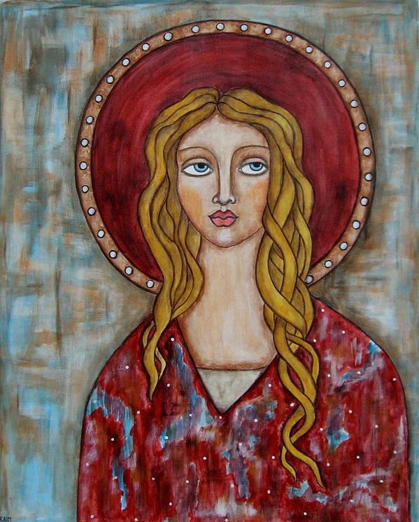 Folk Art Paintings Paintings Art Print featuring the painting Chamuel by Rain Ririn