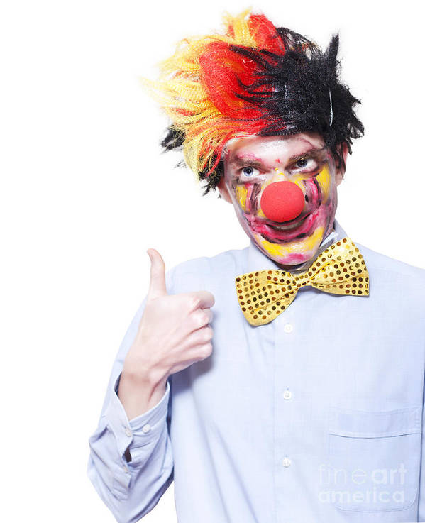 Accept Art Print featuring the photograph Circus Clown With Thumb Up To Carnival Advertising by Jorgo Photography - Wall Art Gallery