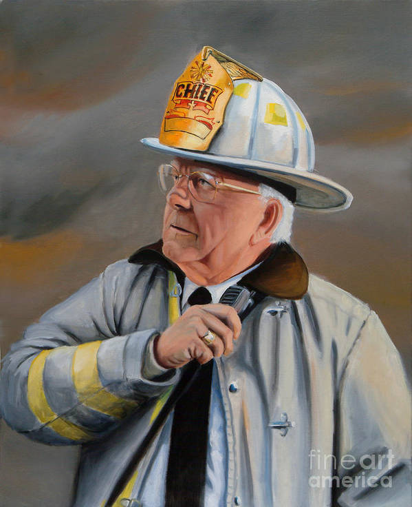 Fire Chief Art Print featuring the painting Command by Paul Walsh