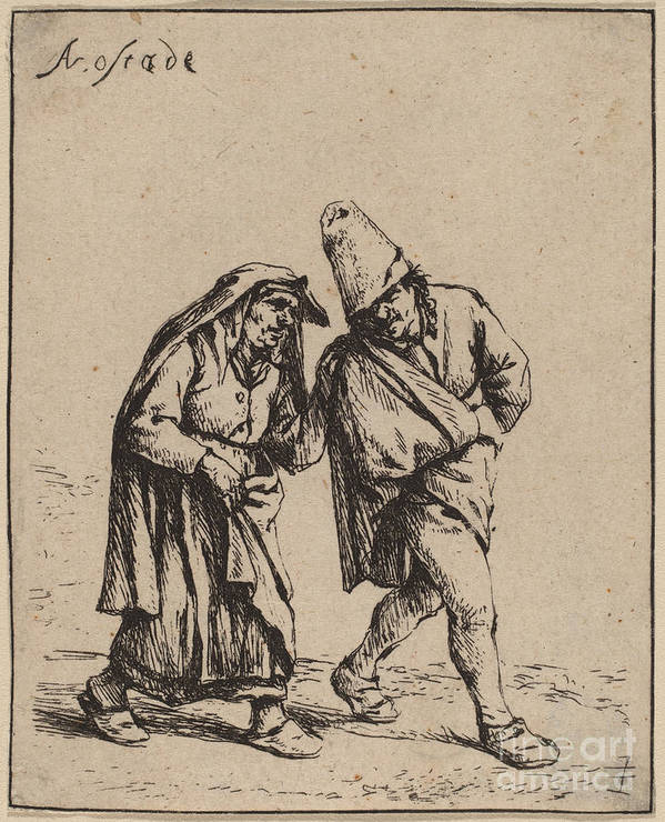 Art Print featuring the drawing Couple Walking by Adriaen Van Ostade